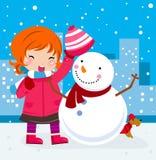Una niña y un muñeco de nieve lindos ilustración del vector
