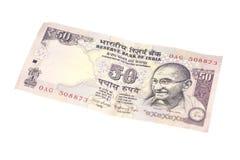 Una nota da cinquanta rupie (valuta indiana) Fotografie Stock