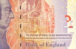 Una nota da cinque libbre con Adam Smith Portrait immagine stock libera da diritti