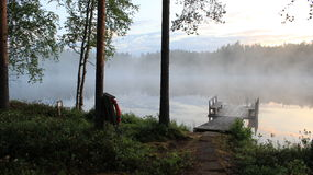 Una notte di estate in Finlandia Immagini Stock Libere da Diritti