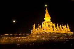 Una notte nel festival di Pha Thatluang, il Laos Fotografie Stock Libere da Diritti
