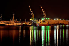 Una notte nel porto Immagini Stock Libere da Diritti
