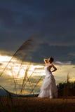 Una novia beautuful en el bosque, cielo azul crepuscular nublado Imagenes de archivo