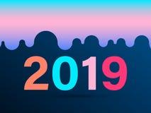 Una nuova carta da 2019 anni, illustrazione di vettore Perfezioni per le presentazioni illustrazione di stock