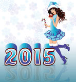 Una nuova carta felice da 2015 anni con la ragazza di Santa Immagine Stock