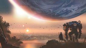 Una nuova colonia nel pianeta straniero illustrazione vettoriale