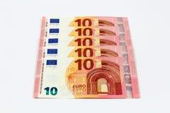 Una nuova parte anteriore di dieci euro banconote Immagini Stock