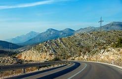Una nuova strada fra Trebinje e Castelnuovo. Immagine Stock