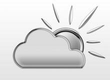 Una nuvola lanuginosa e Sun di Chrome Fotografia Stock