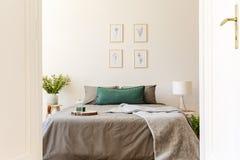 Una ojeada a través de una puerta abierta en un interior soleado natural del dormitorio con las hojas y los amortiguadores grises imagen de archivo