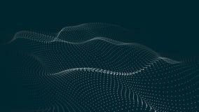 Una ola de part?culas Onda futurista del punto Ilustraci?n del vector Fondo azul abstracto con una onda din?mica Onda 3d ilustración del vector