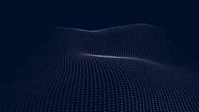Una ola de part?culas Onda futurista del punto Ilustraci?n del vector Fondo azul abstracto con una onda din?mica Onda 3d stock de ilustración