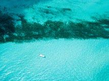 Una opinión aérea Isla Mujeres en Cancun, México imagenes de archivo