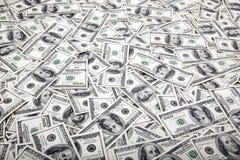 Cientos fondos de los billetes de dólar - lío Fotos de archivo