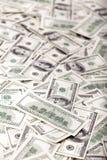 Cientos billetes de dólar ensucian - revés Fotografía de archivo