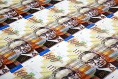 Cientos fondos de las cuentas de los shekels Fotografía de archivo libre de regalías