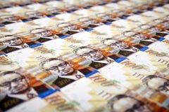 Cientos fondos de las cuentas de los shekels Imagen de archivo libre de regalías