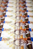 Cientos fondos de las cuentas de los shekels Imágenes de archivo libres de regalías