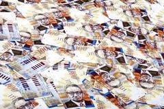 Cientos fondos sucios de las cuentas de los shekels Fotografía de archivo