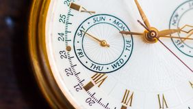 Una opinión de la macro del reloj imagen de archivo libre de regalías