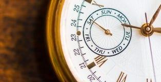 Una opinión de la macro del reloj Imagen de archivo