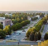 Una opinión de la puesta del sol de la ciudad nativa Kriviy Rih, Ucrania fotografía de archivo