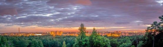 Una opinión del panorama de un bosque y de una ciudad con un cielo rosado imagenes de archivo