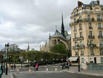 Una opinión el Notre Dame de Paris del Pont St. Louis Fotografía de archivo