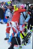 Una opinión general al pueblo y a la gente del festival durante el eslalom gigante de Audi FIS el Ski World Cup Women alpino fotos de archivo libres de regalías
