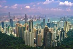 Una opinión Hong Kong de Victoria Peak imágenes de archivo libres de regalías