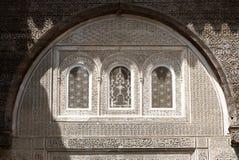 Una opinión interior Bou Inania Madarsa en Fes, Marruecos fotos de archivo
