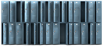 Los armarios de la escuela registraron el frente Fotos de archivo libres de regalías