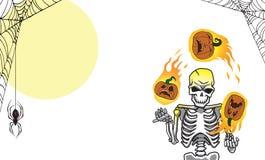 Una orientación amplia de las calabazas llameantes del esqueleto de Halloween que hace juegos malabares libre illustration