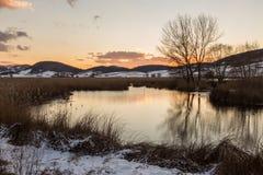 Una orilla del lago en Colfiorito Umbría en invierno con la nieve, árboles Imagen de archivo libre de regalías
