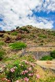 Una orilla rocosa de la terraza de la isla de Alicudi fotos de archivo