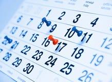 Una página del calendario Fotografía de archivo libre de regalías