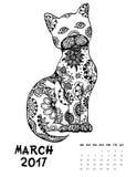 una pagina di 2017 calendari del mese Immagini Stock Libere da Diritti
