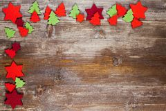 Una pagina di Natale decorata con le decorazioni del pannolenci Fotografie Stock