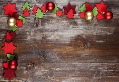 Una pagina di Natale decorata con le decorazioni del pannolenci Fotografia Stock