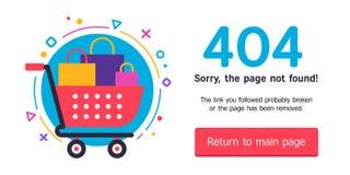 una pagina Web di 404 errori Immagine Stock