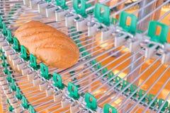 Una pagnotta di pane fresco dal forno su un nastro trasportatore sui precedenti del forno agricoltura Fotografia Stock