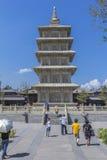 Una pagoda di cinque storie al tempio di Ling Yan Fotografia Stock