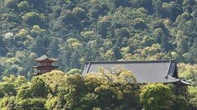 Una pagoda y un pabellón en el bosque fotos de archivo