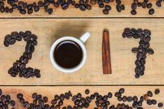 Una palabra del café 2017 - Año Nuevo Imagenes de archivo