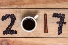 Una palabra del café 2017 - Año Nuevo Fotografía de archivo