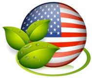 Una palla con la bandiera degli Stati Uniti e con le foglie Fotografia Stock
