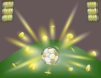 Una palla dorata è una festa di calcio Fotografia Stock