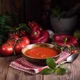 Una paprika-Tomaten - sopa Fotografía de archivo