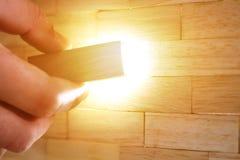Una pared hecha fuera de los bloques de madera Fotografía de archivo libre de regalías