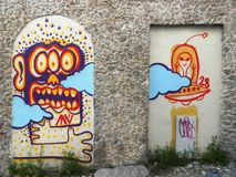 Una pared interesante en Grecia Fotografía de archivo libre de regalías